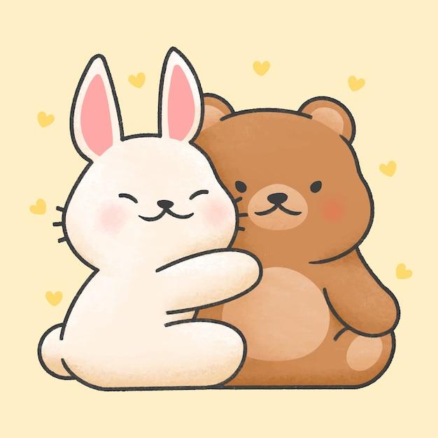 かわいいウサギとクマのカップル漫画手描きスタイル Premiumベクター