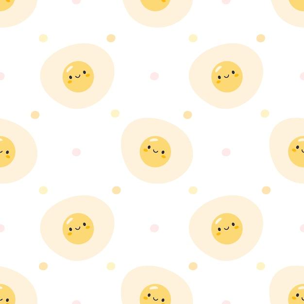 Симпатичные жареные яйца бесшовные узор фона Premium векторы