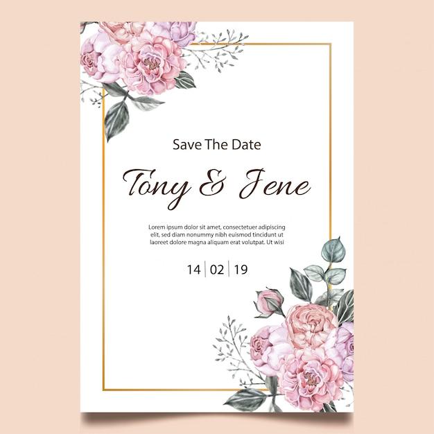 バラの花のビンテージのウェディング招待状。 Premiumベクター
