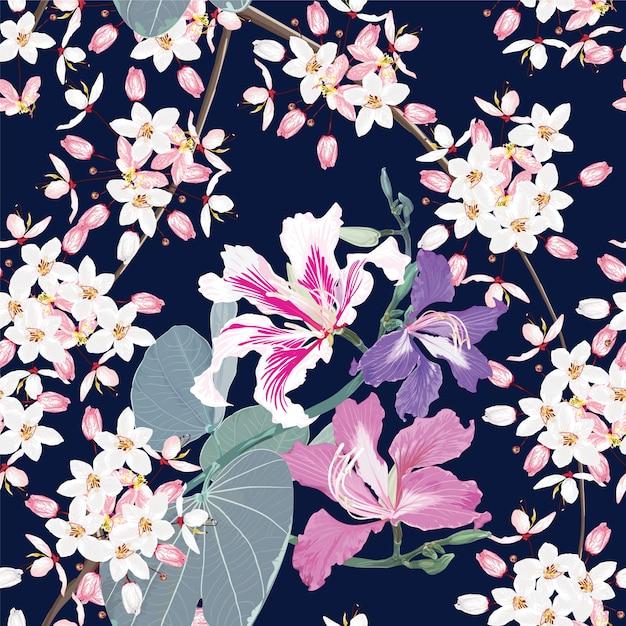 シームレスパターン白とピンクのカラパプルック花暗い青色の背景色。 Premiumベクター
