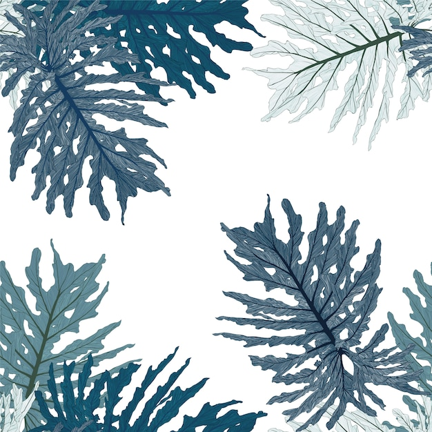 Бесшовные тропические зеленые листья монстера Premium векторы