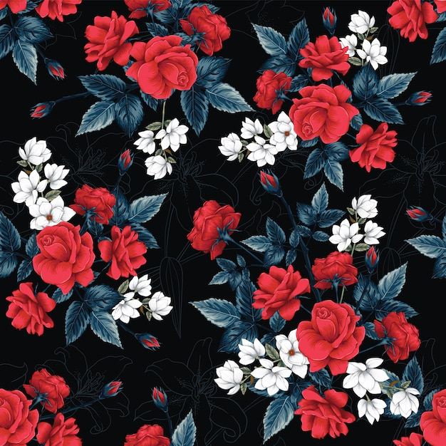 シームレスパターンの赤いバラ、マグノリア、リリーの花の背景。 Premiumベクター