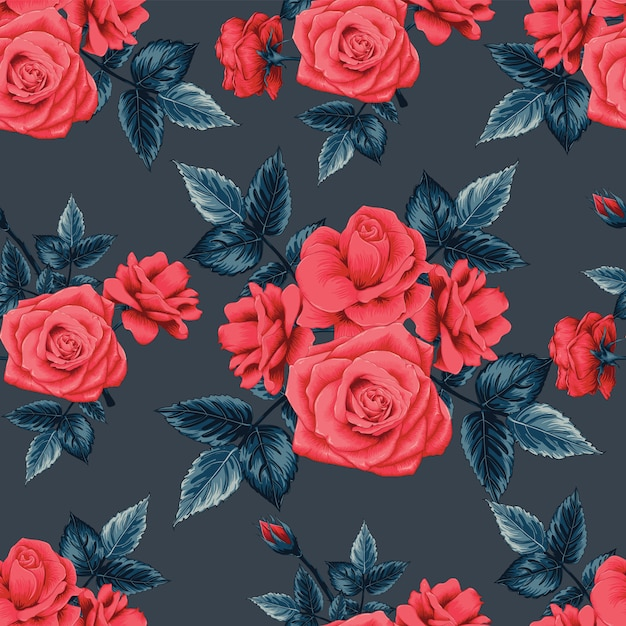 Бесшовный фон красивые красные розы цветы на фоне черного цвета. Premium векторы