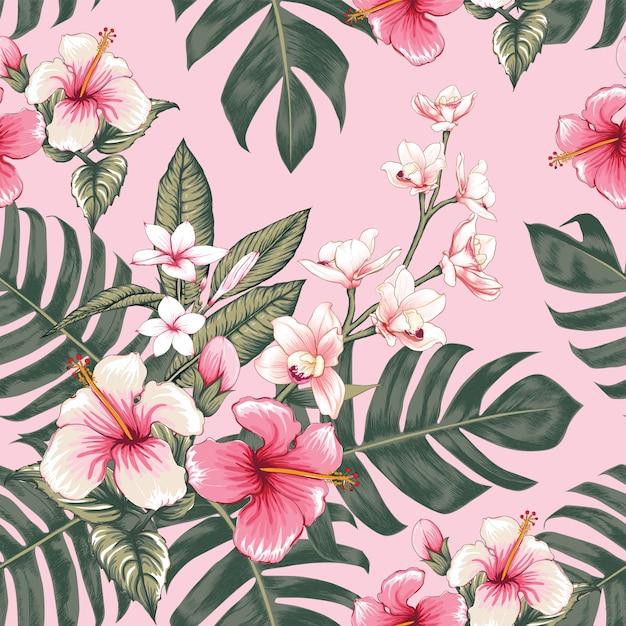 手描きのヴィンテージの花の背景 Premiumベクター