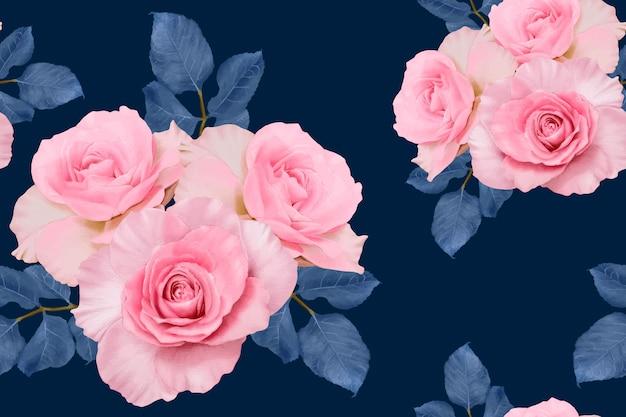 Бесшовный фон розовая роза старинные абстрактного фона. акварель рисованной иллюстрации. Premium векторы