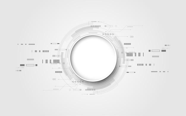 灰色の白抽象的な技術の背景 Premiumベクター