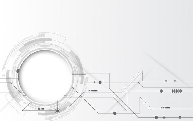 様々な技術要素とグレーホワイトの抽象的な技術の背景 Premiumベクター