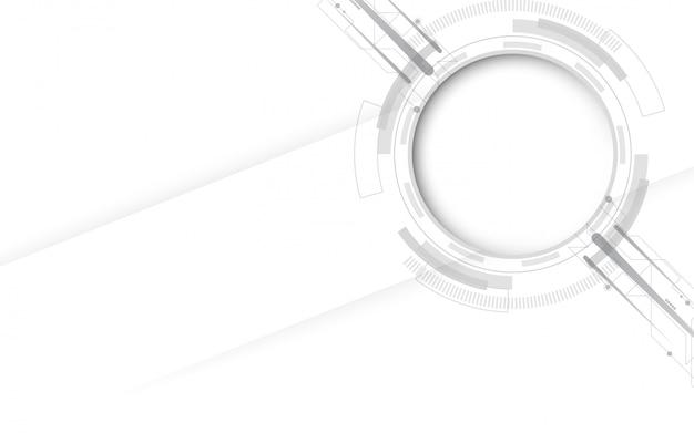 様々な技術要素と灰色の白の抽象的な技術の背景ハイテク通信概念革新の背景 Premiumベクター