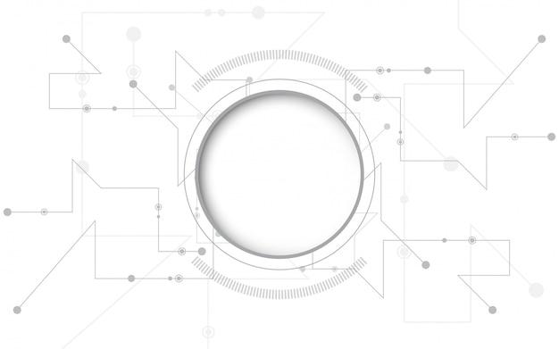 グレーホワイトの抽象的な技術の背景 Premiumベクター