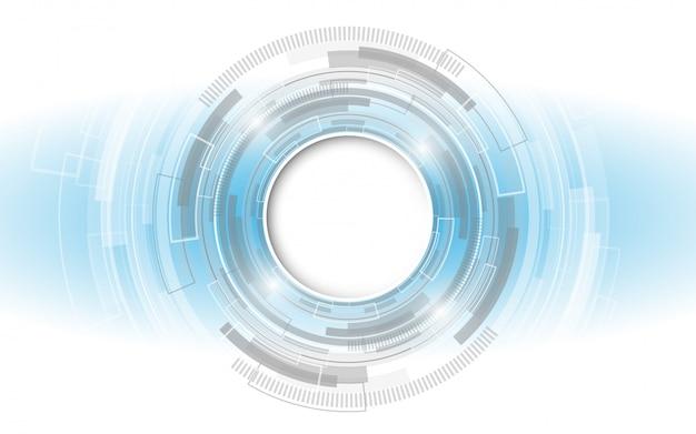 さまざまな技術要素とグレーホワイトの抽象的な技術の背景 Premiumベクター