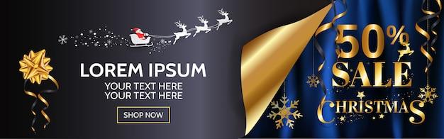 Элегантность рождественские продажи баннер дизайн для веб, плакат в золоте и синий фон с копией пространства. Premium векторы