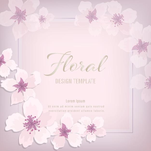 花の結婚式招待状エレガントな招待状カードデザイン。四角形の花輪にピンクの紫色の桜 Premiumベクター