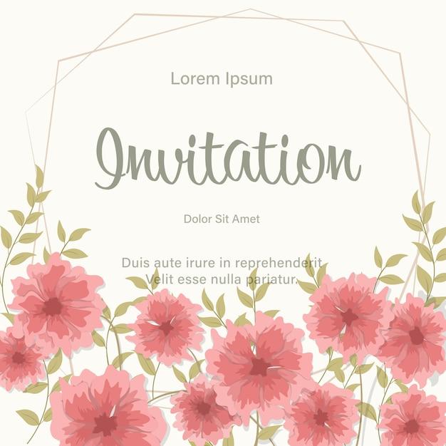 赤い花を持つ結婚式の招待カードテンプレートフレーム Premiumベクター