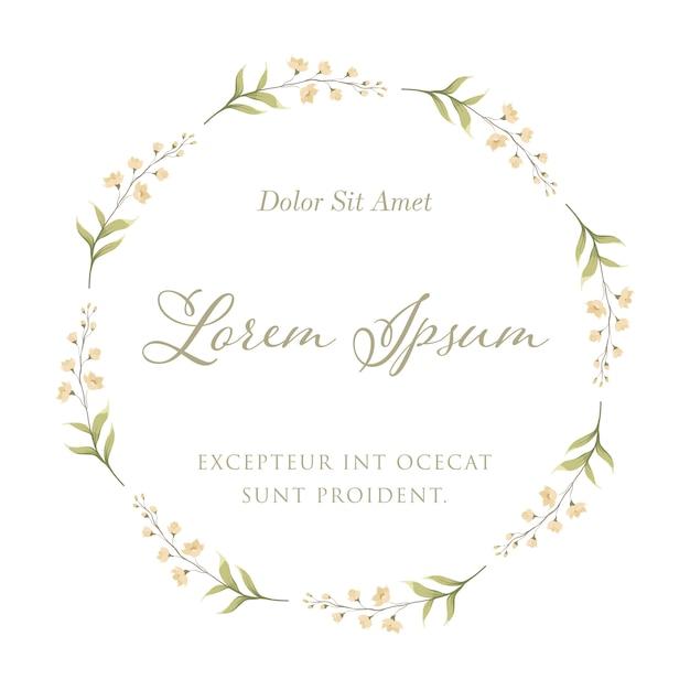 フローラルフレームリースの蘭の花。結婚式の招待カードのテンプレート Premiumベクター
