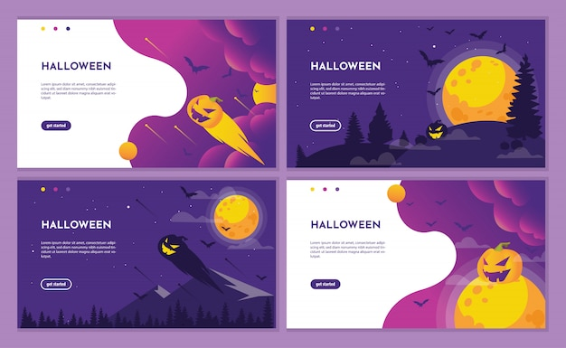 カボチャと月の紫色のハロウィーンランディングページ。 Premiumベクター