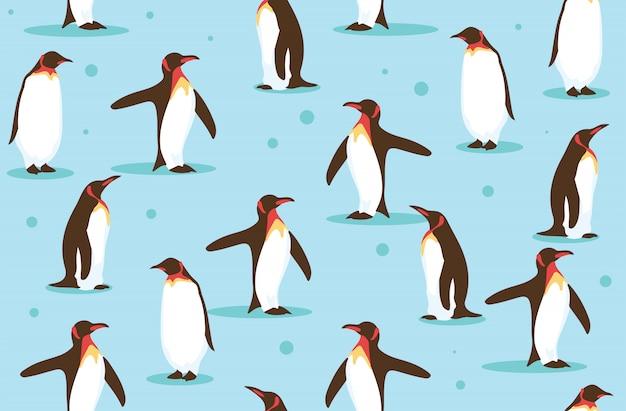 Дикая природа пингвина на севере бесшовного фонового рисунка Premium векторы