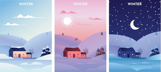 日の出、日没、夜の冬の風景 Premiumベクター