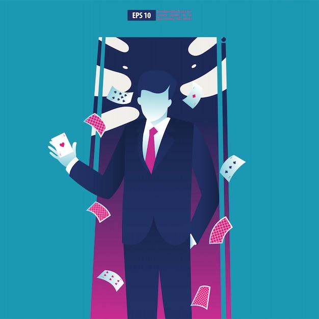 エースカードを保持している実業家。 Premiumベクター