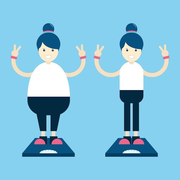 肥満の肥満の脂肪と薄い女性の漫画のキャラクター。 Premiumベクター