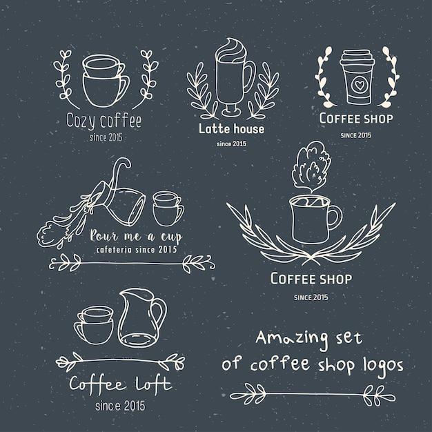 あなた自身のコーヒーショップのロゴを作成する Premiumベクター