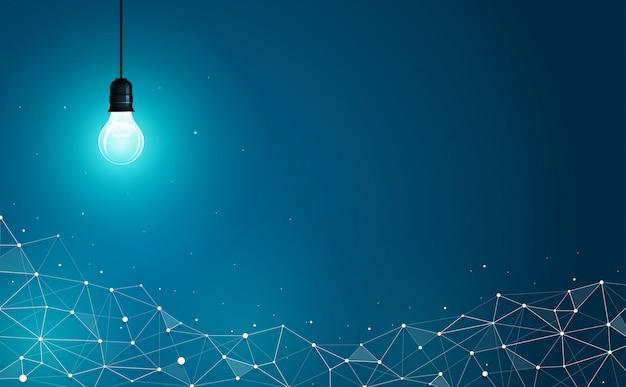 抽象的な幾何学的な多角形の背景に電球。 Premiumベクター