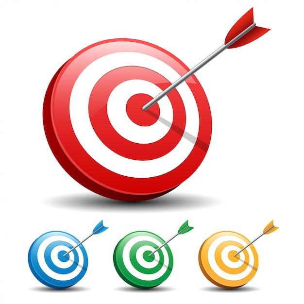 Стрелка, поражающая цель на белом фоне Premium векторы