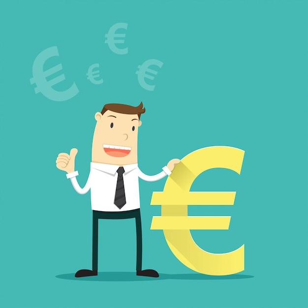 ユーロ通貨記号を持ったビジネスマン。 Premiumベクター