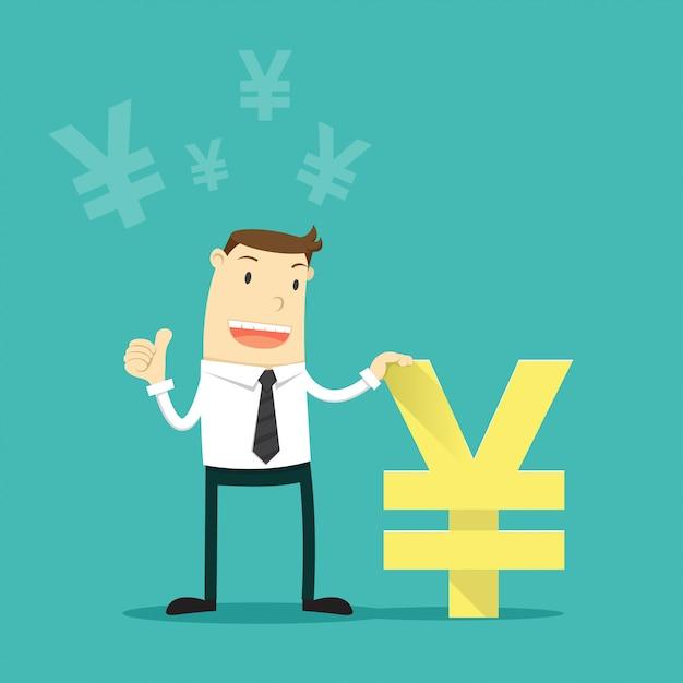 日本円の通貨を持ったビジネスマン。 Premiumベクター