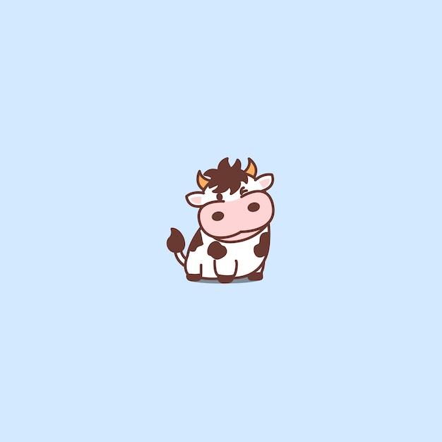 かわいい牛の漫画のアイコン Premiumベクター