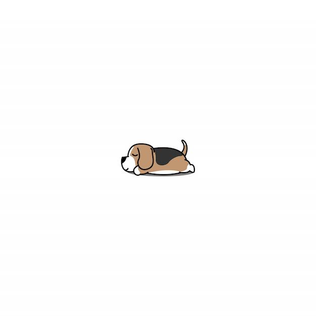 Ленивый бигль щенок спальный значок Premium векторы