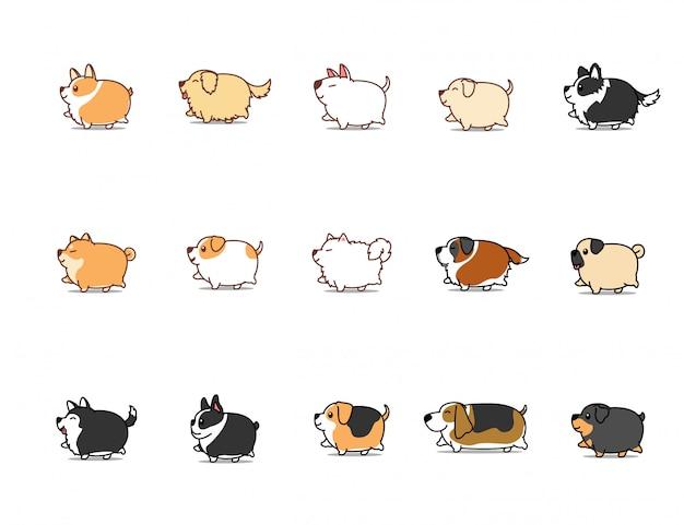 太った犬のウォーキング漫画のアイコンを設定 Premiumベクター