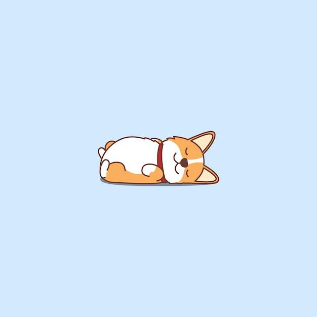 Милый щенок вельш корги лежа на спине мультфильм значок Premium векторы