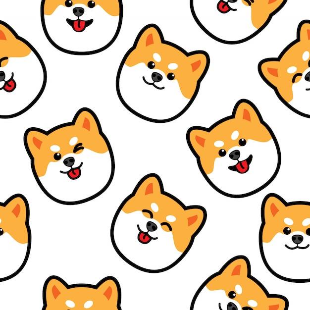 かわいい柴犬犬の顔のシームレスパターン Premiumベクター