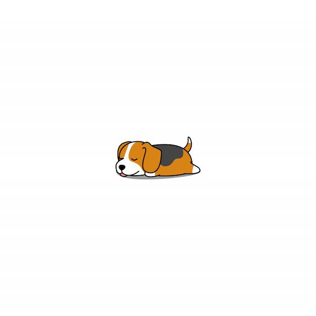 かわいいビーグル子犬眠っている漫画 Premiumベクター