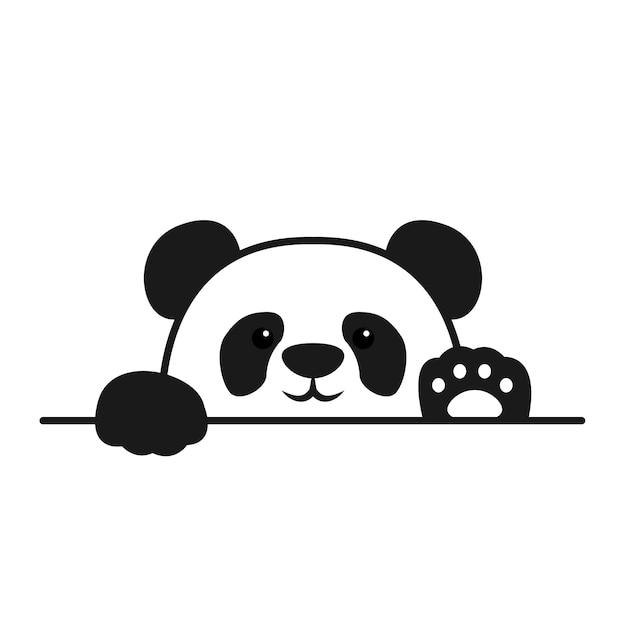 かわいいパンダが壁を越えて立ち上がる、パンダの顔漫画アイコン Premiumベクター