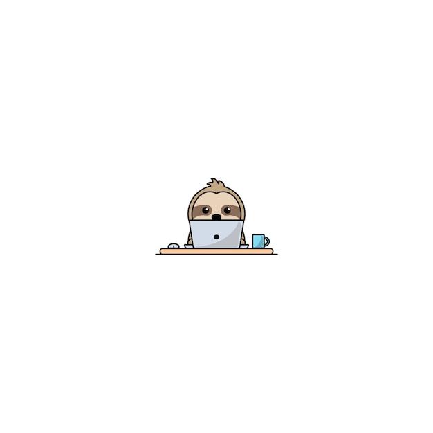 Милый ленивец работает на ноутбуке вектор Premium векторы