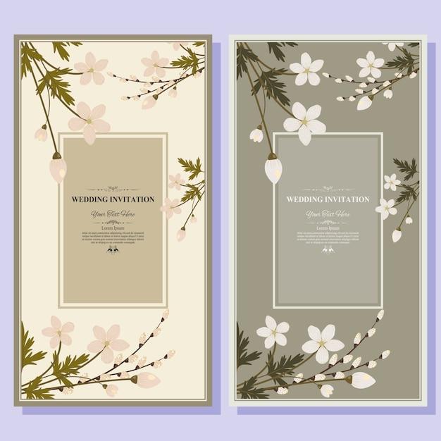 Шаблон приглашения свадебные карточки. Premium векторы