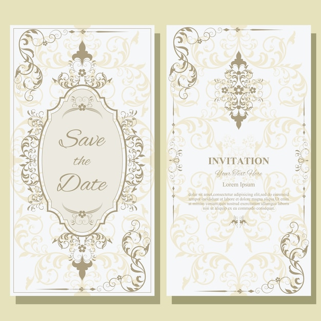 結婚式の招待カードのテンプレートです。 Premiumベクター