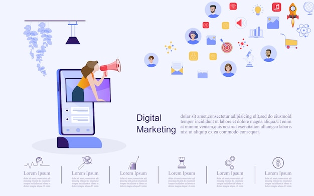 Бизнес-концепция для цифрового маркетинга. Premium векторы