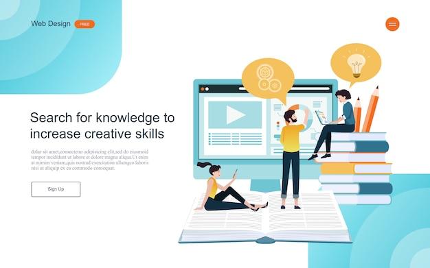Веб-шаблон целевой страницы. концепция образования для онлайн обучения, обучения и курсов. Premium векторы