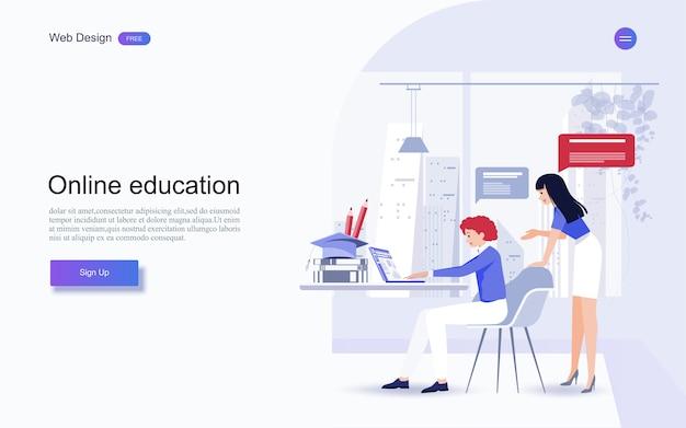 ウェブサイトおよびランディングページテンプレートの教育。オンライン教育、トレーニングおよびコース、学習、 Premiumベクター