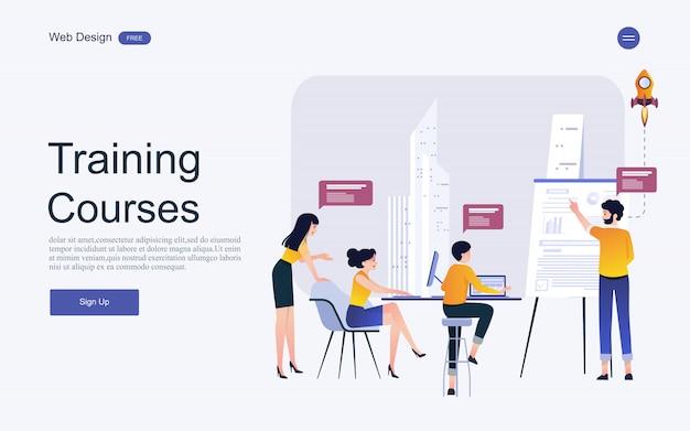 Концепция шаблона сайта для онлайн образования, обучения и курсов. Premium векторы