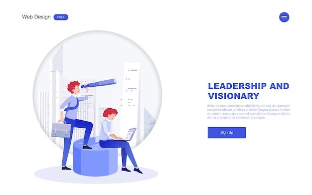 Бизнес веб-шаблон видения, лидерства. Premium векторы