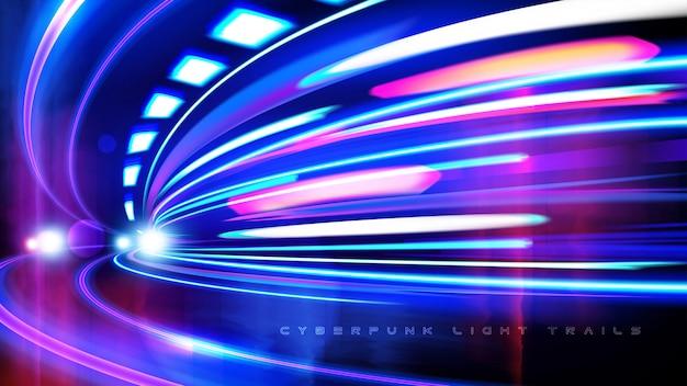 Киберпанк свет тропы эффект в векторе Premium векторы