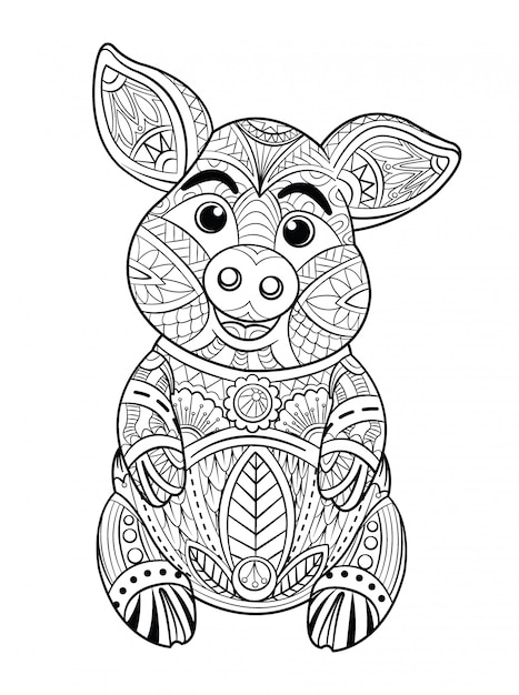 豚ぬりえ Premiumベクター