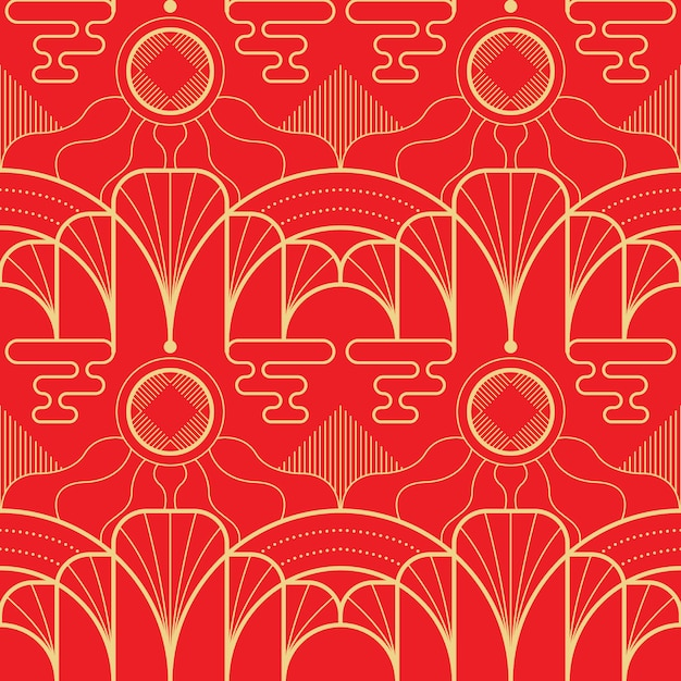赤の背景にベクトルモダンな幾何学的なタイルアジアパターン。 Premiumベクター