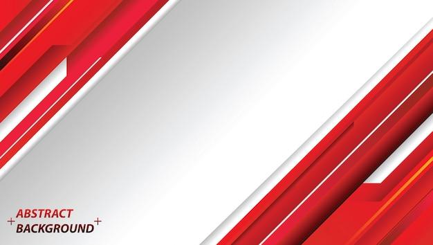 抽象的な赤と白のモーションテクノロジーデザイン。企業のベクトルの背景 Premiumベクター