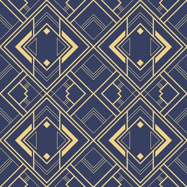 Абстрактное искусство деко синий геометрические плитки шаблон. Premium векторы
