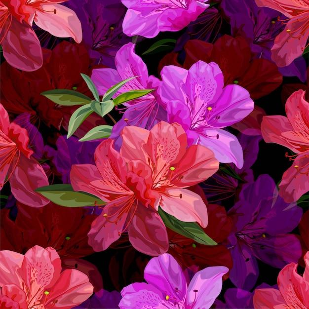ツツジのベクトル図とシームレス花柄 Premiumベクター