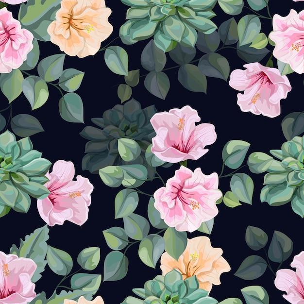 ハイビスカスの花、多肉植物、熱帯の葉のシームレスなパターンベクトル図 Premiumベクター